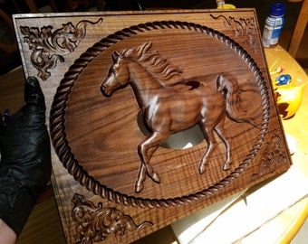 Running Horse Carving