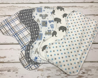 boys Burp cloth organic Boy Burp cloth elephant baby shower grey burp cloth elephant burp cloth Baby boy shower gift blue burp cloths