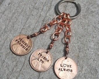 Personalized penny keychain