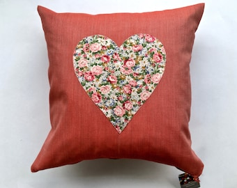Cotton Floral Love Hearts Appliqué 45cm Decorative Handmade, Hand Finished Cushion Cover. Summer Sale, 40% off. Free delivery.