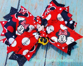 Minnie Mouse hair bow, Minnie mouse hair clip, Minnie Mouse hairbow, Minnie Mouse hair accessory, Disney Trip, Minnie mouse birthday party