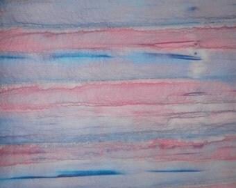 Pink, Blue Striped, Cotton, Unique Hand Dyed FQ