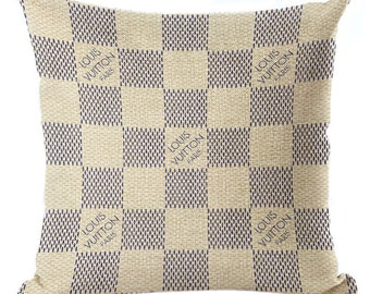 Louis Vuitton Inspired Pillow Cover Decorative Pillow Beige Classic Monogram Fashion Home Decor Couture LV Throw Pillows Damier Azur