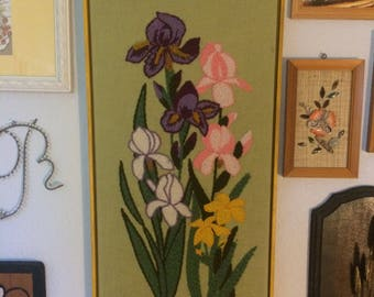 Vintage Iris Crewel Embroidery Floral Picture Wall Art