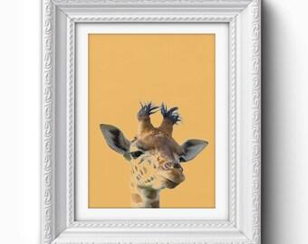 Giraffe Wall Art Print, Funny Giraffe Print, Giraffe Art, Giraffe Printable, Orange, Modern Art, Home Decor, Giraffe Print, Wall Art