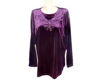 Vintage women blouse top embroidery violet purple velvet