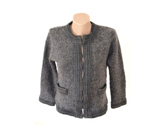 Vintage women blazer jacket sweater gray cardigan
