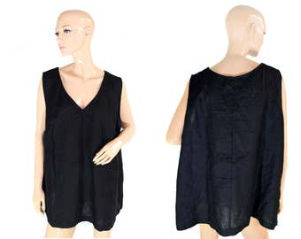 Vintage Samm women top vest black 100% linen