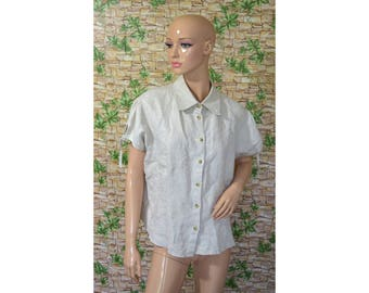 Vintage women blouse shirt beige embroidery