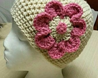 Cream /Pink Flower Woman's Crochet Beanie
