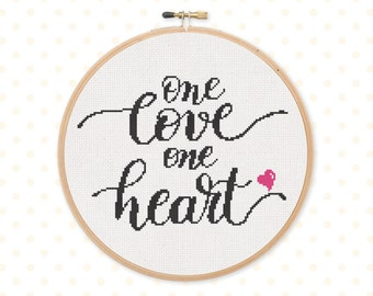 50% OFF!  one love one heart cross stitch pattern, Digital Cross stitch pattern, modern cross stitch, lettering