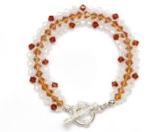 Flat Spiral Crystal Bracelet in topaz