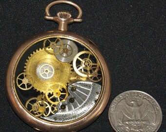 Steampunk Rose Gold Pocket Watch Necklace 5