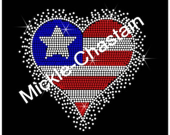 "Rhinestone Transfer Patriotic ""Flag heart"" Hotfix , Iron On,"