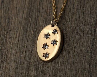 Blue Topaz Star Necklace - Gold Filled Oval - Hand Engraved