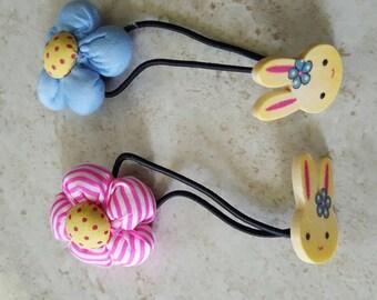 Flower bunny hair ties