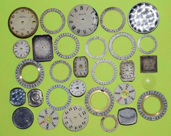 30 Watch parts, Steampunk Supplies, Watch Face Dials, For Steampunk, Antique details, Old Face Dials, Jewellery making, Craft cyberpunk
