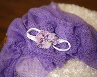 lavender newborn Wrap headband set,mohair Newborn wrap,New born wrap, Newborn Baby Wrap Photo Prop,newborn stretch wrap, newborn headband