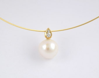 GRAZIA 18kt gold pendant, diamond, Pearl, wedding, wedding, wedding necklace, necklace wedding