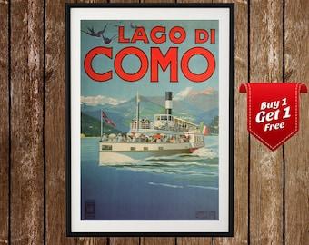 Lago di Como Vintage Travel Poster - Lake Como Print, Italy Travel Poster, Italian Tourism Decor, Lake Garda, Italian Retro , Travel Art