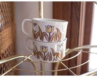 Floral Soup Mugs | Vintage Set of 2 Stoneware Yellow Brown Floral Soup Mugs