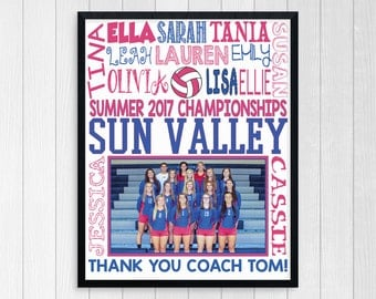 VOLLEYBALL TEAM GIFT ~ End of Season Volleyball Coach Thank You Gift ~ Custom Volleyball Team Photo Gift Team Mom ~ Volleyball Coach Gift