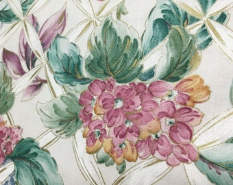 Vintage 1980's Floral Designs by Kimiko Ikeda for Covington fabric. Floral with Gold Metallic
