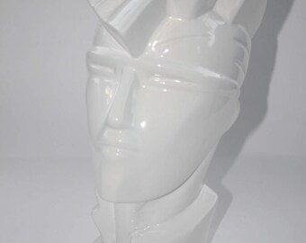 Modernist Deco Ceramic Head Sculpture Lindsey B Style