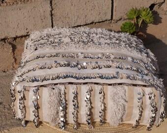 pouf ottoman,decorative pouf,kilim pouf,berber pillow,bohemian,handira pouf cover,moroccan pouf,vintage pillow,moroccan decor,