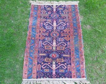 Caucasian Rug, Kazakh Rug, Small Vintage Rug, Blue Rug, Oriental Rug, Caucasian Carpet, Caucasian Kazak Rug, Tribal Caucasian Rugs