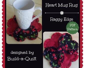 PDF Pattern:  Heart Shaped Mug Rug/Coaster ~ Rag Quilt Style