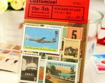 18 pieces sticker stamps vintage retro style travel
