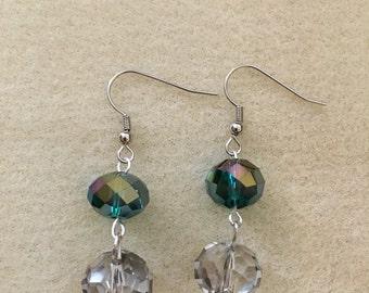 Clear/Metallic Pierced Dangle Earrings