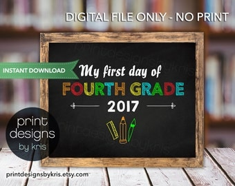 First Day of FOURTH GRADE Sign - First Day of School Sign - Photo Prop - 1st Day of School Printable - Chalkboard Sign Instant Download