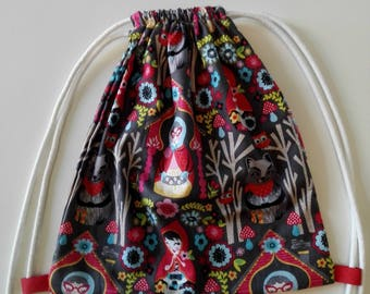 """Backpack's """"Red Riding Hood"""" daycare for children fun snack in printed cotton bag with cords to carry food bag"""