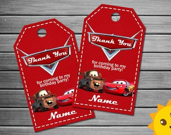 Cars Thank You Tags, Cars Birthday Favor Tags, Cars Party Tags, Cars Favor Tag, Cars Thank You Printables, Cars Game Labels, cars party