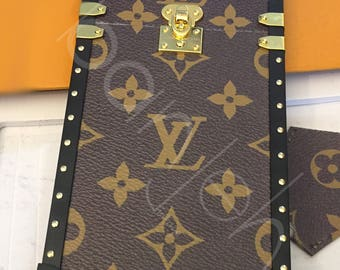 LV x Supreme Monogram Runway Leather Trunk Iphone Case handmade iPhone case Includes headphone holder