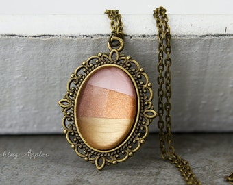 Dip dye necklace - vintage glamour / necklace in the color bronze and a hand-painted glass cabochon in gold tones