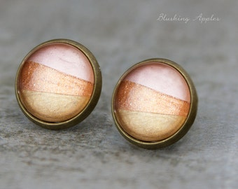 Dip Dye Earring Studs - Vintage Glamour - 12 mm, hand painted earrings - geometric, everyday jewelry