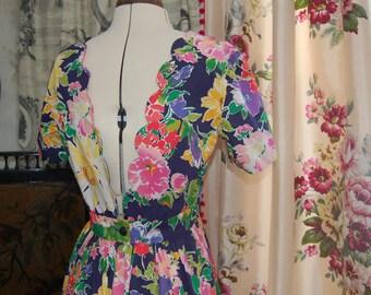 Gorgeous floral backless vintage  summer dress 10