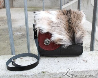 Fur leather bag, celtic design