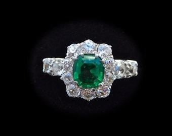 Art deco Emerald & Diamond Cluster Ring, art deco emerald engagement ring, vintage engagement ring, antique emerald diamond engament ring,