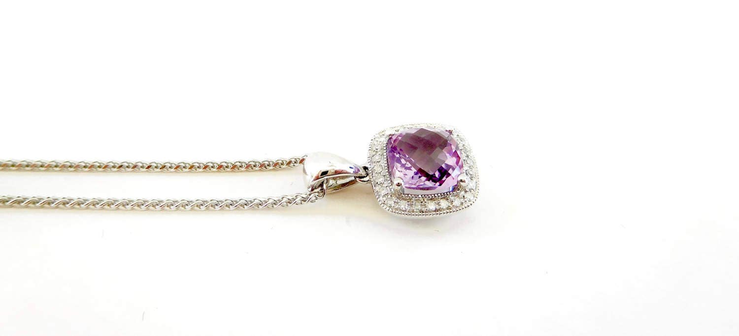 ... diamond necklace, amethyst wedding gift, amethyst and diamond cluster