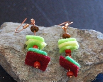 Green and red wool long earrings
