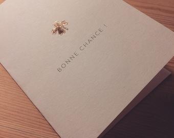 """""""Good luck"""" - glitter gold clover card"""