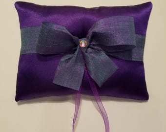 Purple Ring Bearer with Multi-Colored Ribbon
