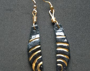 Black and Gold Spiral Earrings