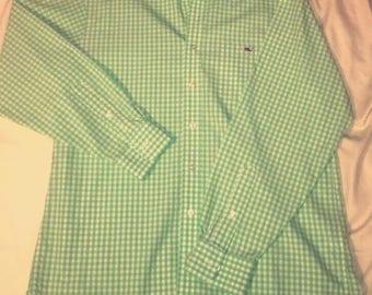 Vineyard Vines Tucker Shirt Green and White Checkered Shirt
