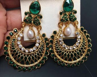 Amaya Series - Earrings with pearls and choices of rhinestones and meena work