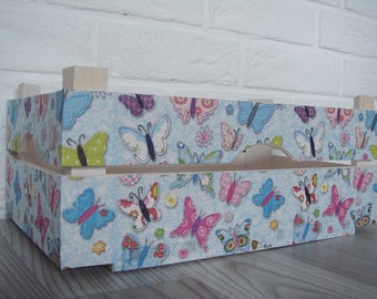 WOODEN CRATE BUTTERFLIES, handmade wooden crate, wooden storage boxes, gift ideas, home decorations, decoupage crate, personalized crate